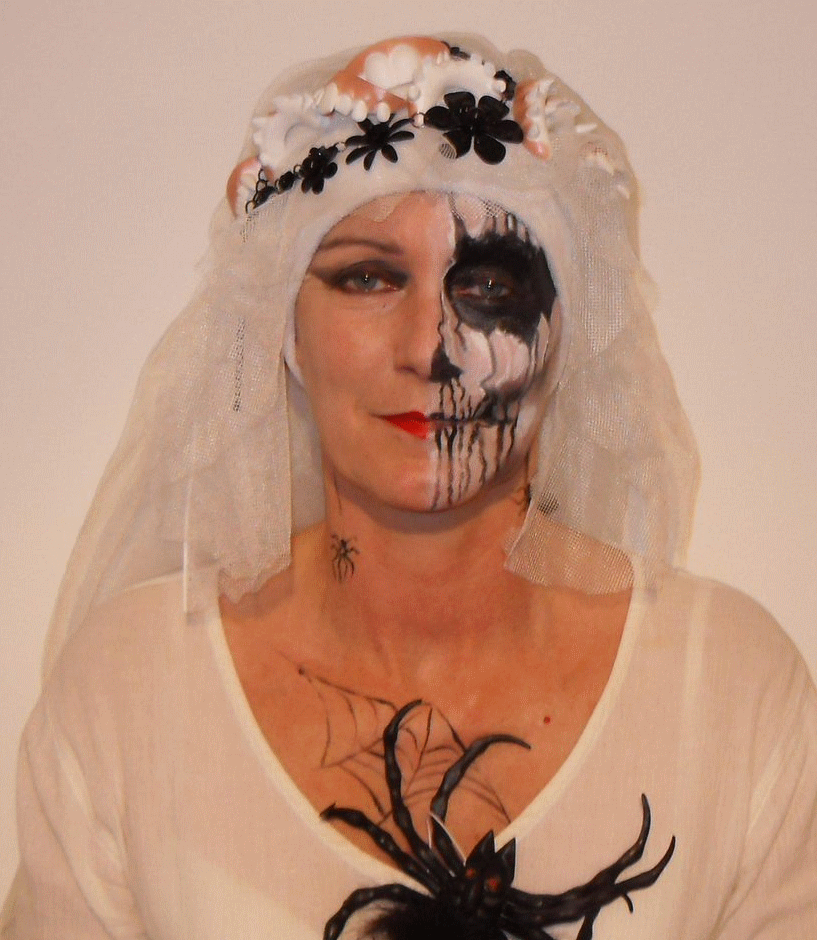 Scary Lorraine dressed up for Halloween event in Bideford